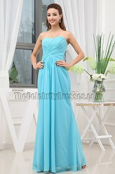Cheap Blue Chiffon Strapless Bridesmaid Prom Dresses - TheCelebrityDresses