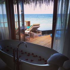 Sea views from the bath tub.