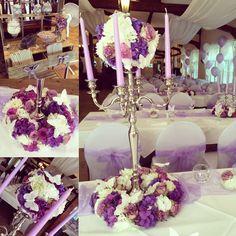 Tischdeko in lila/flieder  #hochzeit #wedding #kerzenleuchter #blumen #blumenkugel #hochzeitsdeko #princessdreams