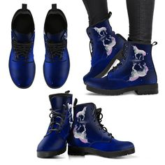 These custom designed Boots are a MUST HAVE! Full suede double sided print with rounded toe construction. Lace-up closure for a snug fit. Blue Boots, Snug Fit, Charlie Brown, Vegan Leather, Leather Boots, Rubber Rain Boots, Me Too Shoes, Combat Boots, Lace Up