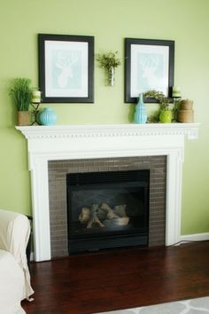 Behr Grass Cloth Light Green Paint Color : Room * 6 has a beautiful open living room painted a cheery green called Behr Grass Cloth. It is the perfect compliment to her dark wood floors and that amazing glass tile fireplace surround.  Thanks Stephanie! And in other news, I'm now on Twitter and Instagram! Better late than never, right? I am still just a tad confused over on Twitter with all the #ing and @ing lim going on, but I'm already having a blast keeping up with you guys over...