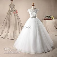 Wholesale Lace Wedding Dress - Buy Tulle Ball Gown Wedding Dress Bridal Gown Prom Dresses Beaded Lace Short Sleeves Crystal Waist COY298, $168.0 | DHgate