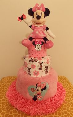 Disney's+Minnie+Mouse+Diaper+Cake+by+BabyGiraffeGifts+on+Etsy,+$125.00