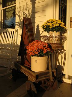 ~ Mums~ Crocks ~ Birdhouse ~ Old wagon~