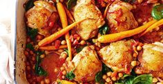 Turn tender, flavour-packed chicken thighs into a sticky, spicy and saucy feast with sweet baby carrots, roast tomatoes and spicy harissa.