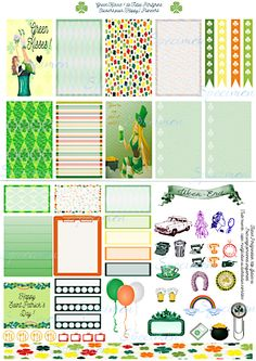 Free Printable Green Kisses Planner Stickers