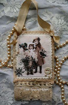 Fabric collage ornament