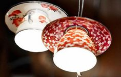 *Upcycled Teacup Lamps* Wanna learn how to make these little cuties this weekend? We've got a great DIY for you! Have questions? Just message us and we will answer them for you. http://www.greenmoxie.com/gorgeous-diy-upcycled-teacup-lights/ #upcyclingideas