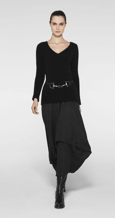 sarah pacini - love the v neck knit, and the drape of the skirt