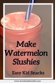 Your kids are going to love this healthy frozen watermelon slushie recipe, it has no sugar and is perfect for summer! Strawberry Pineapple Smoothie, Watermelon Slushie, Pineapple Smoothie Recipes, Frozen Watermelon, Fruit Smoothies, Protein Smoothies, Peanutbutter Smoothie Recipes, Chocolate Peanut Butter Smoothie, Protein Shake Recipes