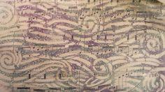 gelli print op deli paper op muziekpapier