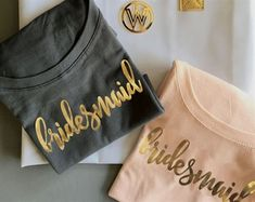 Bridal Party Shirts make the perfect gift for your bridesmaids and maid of honor - give them to your friends before a bachelorette party so the crew can travel in style! Each soft cotton jersey shirt has a scoop neck and printed with a bridal party title Bridal Party Shirts, Bachelorette Party Shirts, Bachelorette Ideas, Bachelorette Weekend, Bridesmaid Proposal, Bridesmaid Gifts, Bridesmaids, Bride And Bridesmaid Shirts, Bridesmaid Ideas