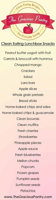Clean Eating Lunchbox Snacks List