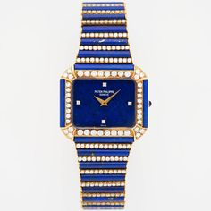 For Sale on - An Incredibly Rare and Unsual Lapis and Diamond Wristwatch, Ring, and Earrings Set by Patek Philippe. Accompanied by the Extract from the Patek Archives Most Beautiful Watches, Lapis Lazuli Jewelry, Retro Clock, Expensive Watches, Jewelry Photography, Patek Philippe, Jewelry Design, Unique Jewelry, Vintage Watches