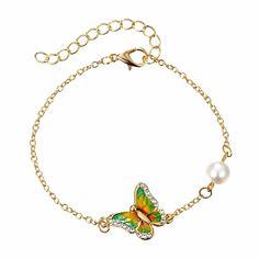 Metal Printing Bracelet Crystal Butterfly Bracelet Imitation Pearl Bracelet  For Women Female Jewelry Ladies Bangle Accessories 8254d317fceb