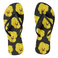 #ad Black Flip Flops, Pansies, Slip On, Sandals, Yellow, Pattern, Prints, Shopping, Color