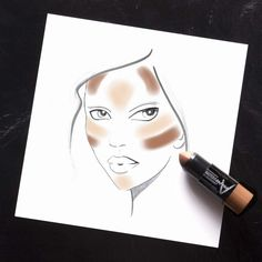 The easiest tool to contour and highlight like a pro! Maybelline Master Contour V-Shape Duo Stick has a side that conceals and a side that contours for your perfect sculpted look with one product.  Follow this face chart for the perfect sculpted, contoured complexion.