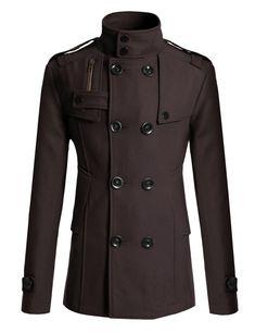Doublju Mens Half Trench Coat BLACK (US-L)