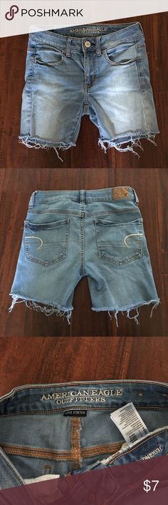 American Eagle outfitters cut-off jegging short AEO Super Stretch Jegging in a light wash, made into cut off's. They've been worn but there's no stains and they're in very good condition. Very soft and forgiving ☺️ American Eagle Outfitters Shorts Jean Shorts