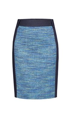 SEAPORT $175 214636 Stretch denim with tonal tweed pencil skirt