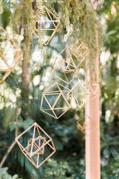 geometric gold details - photo by Elaine K Garland Photography http://ruffledblog.com/gold-and-greenery-garden-wedding