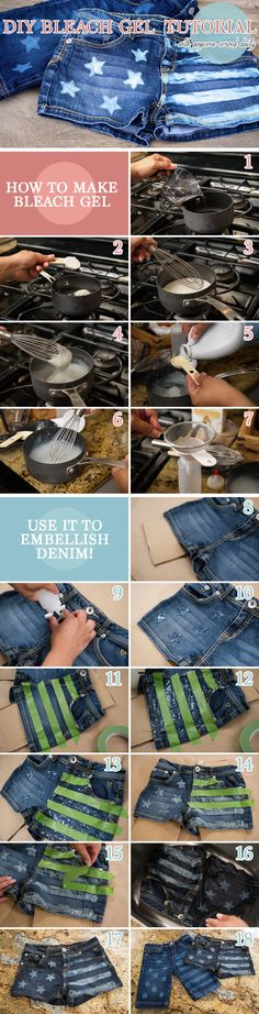 """""""First, I made my own bleach gel with items I had on hand, then I used the gel and a cookie cutter to restyle some denim shorts for my daughter."""""""