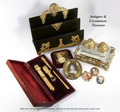 Antique Georgian to Early Victorian Portrait Miniature Set in 14K from antiques-uncommon-treasure on Ruby Lane