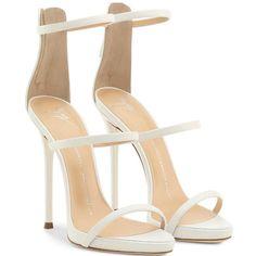 4c248b01b Giuseppe Zanotti White nappa sandal with three straps inch heel with inch  internal platform White nappa leather upper Three straps Covered stiletto  heel Z…