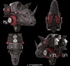 Robotic rhino side views, Hristian Ivanov Shyne on ArtStation at https://www.artstation.com/artwork/robotic-rhino-side-views