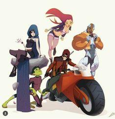 "Teen Titans by Valerio ""Dreelrayk"" Buonfantino Teen Titans Go, Teen Titans Raven, Teen Titans Fanart, Drawing Cartoon Characters, Character Drawing, Comic Character, Character Design, Robin Starfire, Beast Boy"