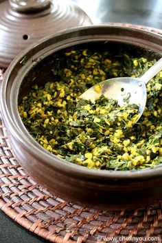 Drumstick Leaves Curry (Murungai Keerai Poriyal) by thechefinyou: A Southern Indian stir fry using this super green and lentils. #Curry #Drumstick_Leaves #Lentils #Indian #Healthy