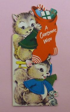 Vintage Greeting Unused Happy Happening's Squirrel & Mouse Christmas Card | eBay