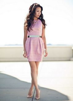 Classy - Tulip Dress & Layered Necklaces. Dress is from ASOS, Christian Louboutin shoes, BCBG belt,
