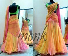 Beautiful colors half saree--reminds me of Tinkerbell. Lehenga Designs, Half Saree Designs, Saree Blouse Designs, Blouse Patterns, Half Saree Lehenga, Lehnga Dress, Lehenga Blouse, Bridal Lehenga, Ethnic Outfits