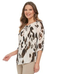 Ella J Classic Shirred Neck Chiffon Animal Print Top, Size 16 product photo