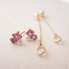 natural pink stone pierced earrings #tocca #japan