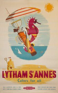 ENGLAND - LANCASHIRE - Lytham St. Annes - Vintage Travel Poster by Daphne Padden for British Railways