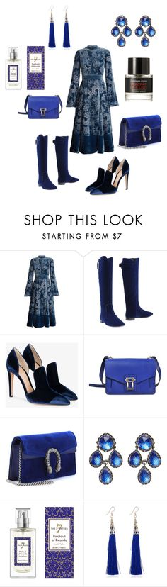 """""""Untitled #649"""" by cassandramortmain ❤ liked on Polyvore featuring Erdem, Roger Vivier, Gianvito Rossi, Proenza Schouler, Gucci, Larkspur & Hawk, The 7 Virtues, WithChic and Frédéric Malle"""