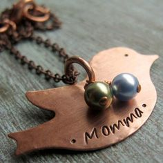Whole Soul Jewelry - Copper Mama Bird Pendant With Pearls, $29.00 (http://www.wholesouljewelry.com/copper-mama-bird-pendant-with-pearls/)
