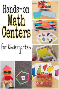 Teaching math can be hands-on and fun for kids! These math centers for young kid.Teaching math can be hands-on and fun for kids! These math centers for young kids give ideas for 5 centers that make math engaging and help kids learn. Math Activities For Kids, Kindergarten Centers, Homeschool Kindergarten, Fun Math, Math Resources, Classroom Activities, Teaching Math, Math Centers, Math Games