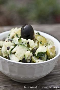 Clean Eating Greek Cucumber Salad.    Ingredients:  2 cups chopped cucumber (peel if desired)  1/4 cup finely chopped black olives  1/3 cup chopped green grapes  1/4 cup non-fat, plain Greek yogurt  1 1/2 tsp. Greek seasoning (you can find this in the spice aisle at most main stream grocery stores)  1/2 tsp. white balsamic vinegar (other vinegars will work too)  Salt to taste