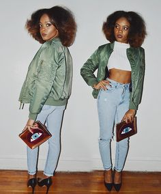 Forever 21 Classic Bomber Jacket, Missguided Extreme Cropped Sweater, Poppy Lissiman Lips Eye Clutch, Forever 21 Faux Leather Pointed Pumps, Vintage Jeans
