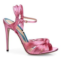 Gucci Allie Knotted Metallic Leather Sandals ($795) ❤ liked on Polyvore featuring shoes, sandals, heels, pink, gucci, metallic sandals, pink shoes, gucci sandals and leather lined shoes