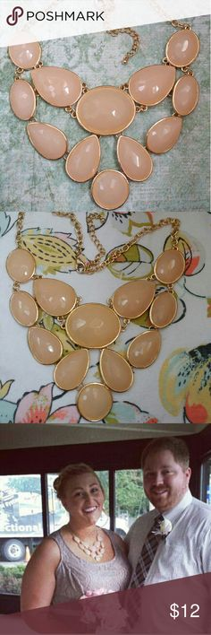 "Target Blush bib necklace with acrylic beads Blush/ Peach bib necklace with glass rondelle and acrylic beads. Roughly 5"" L by 5"" W. Nickle-free metal. Great condition, only worn once for a wedding! Jewelry Necklaces"