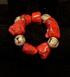 BOHO Beaded Bracelet-Chunky Bracelet by TheJoyMoosCollection Coral Jewelry, Statement Jewelry, Beaded Jewelry, Jewelry Box, Jewelry Making, Beaded Bracelets, Necklaces, Men's Jewellery, Bacon Wrapped