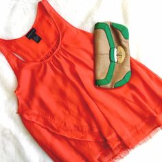Central Park West Blood Orange Flowing Tank This is one of those pieces it's SO hard to let go of! The draping, the deconstructed hem, the comfort of a well-made top! Central Park West is an upscale brand, well made and aptly named! This piece has no flaws, racer back, and will look amazing! central park west Tops Tank Tops