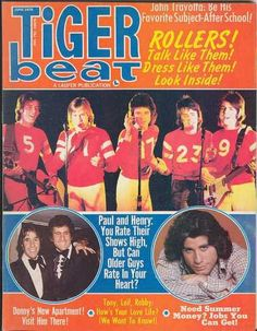 The Bay City Rollers, John Travolta, and Henry Winkler on the cover ofTiger Beat,June 1976.
