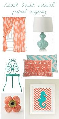 """Colour palate for Tia's room doing this color combo for my room, accent wall being coral, other 3 walls are beige. Curtains and comforter will be more of a """"Tiffany Blue"""" color babys room baby girl My New Room, My Room, Girl Room, Coral Aqua, Coral Color, Coral Accents, Ikea Lillangen, Estilo Navy, Aqua Decor"""