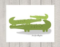 A is for Alligator  Nursery Art  Print by DeliveredByDanielle, $11.00