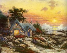 cottage by the sea-Thomas kinkade Art print on canvas_Thomas Kinkade 20x24_famous picture Print_Shopping oil paintings at OkeArt Online Gallerywww.okeart.com